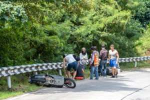 motorcycle crashed into a guardrail