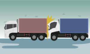 vector of trucks crashing into each other